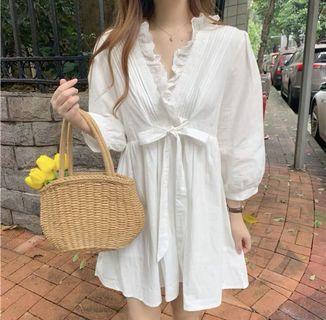 【預購】韓版白色洋裝