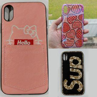 iPhone Xs X Case Cover Supreme Kitty Hearts Red Pink Black