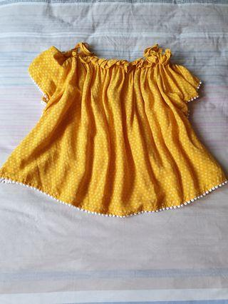 bnwt seed teens bright yellow cold shoulder tie up pompom top