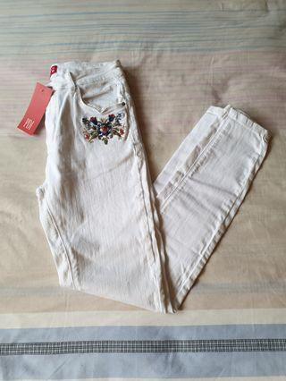bnwt padini creamish white khaki high waisted denim skinny mom jeans with floral embroidery
