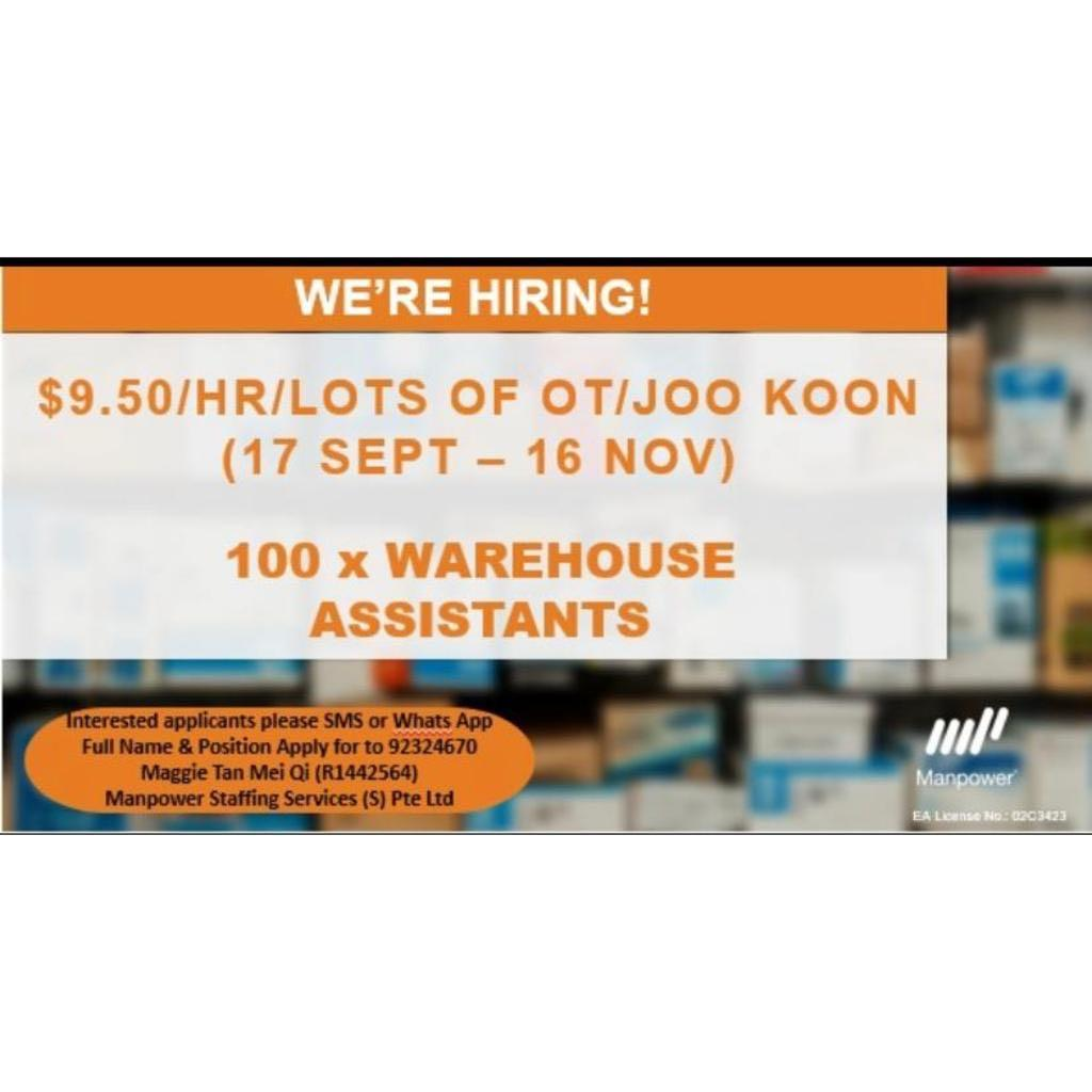 100 x Warehouse Asst/Joo Koon/16 Sep-15 Nov/Immediate