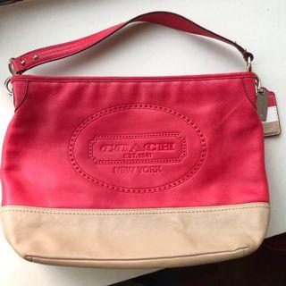 Coach Genuine Leather Shoulder and Sling Bag in Red Pink