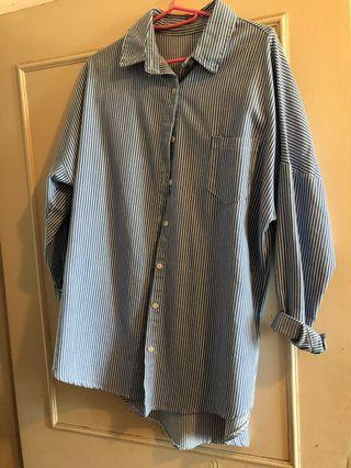 藍條紋襯衫長版