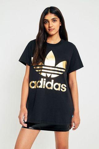 A Adidas Originals Big Trefoil Tee Gold Black Oversized