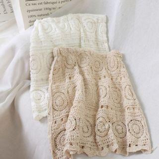 T2-325Elastic Waist Lace Skirt  WHITE/BEIGE
