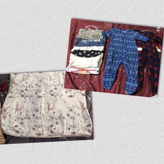 一件冷氣毯+2件冬天兔裝+5件薄長包屁衣 (60-70)