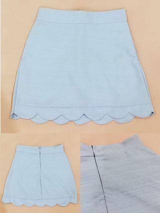 [ALL FOR RM15] Pastel Blue Elegant Bodycon Zippered Skort