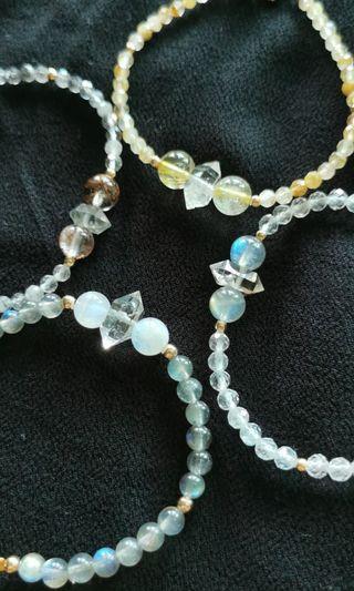 Minimalist Herkimer Diamond stone bracelet