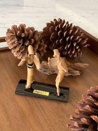 日本阿波舞竹製藝術品 擺飾品 紀念品