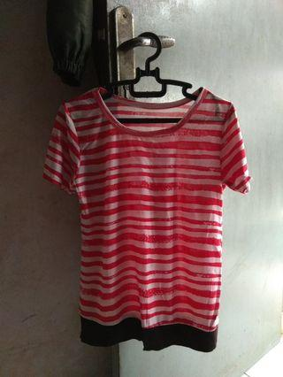 Kaos stripe wanita  #bagibagi