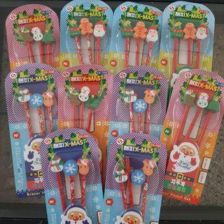 10pcs Christmas Pencil + Eraser Set