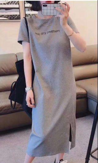 Grey midi t-shirt dress