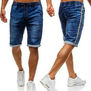 Men Denim Shorts Pockets Straight Short Trousers Streetwear
