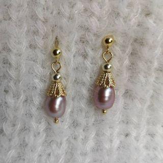 925純銀天然淡水珍珠耳環