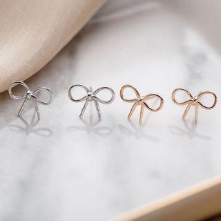 純銀玫瑰金蝴蝶耳釘耳環