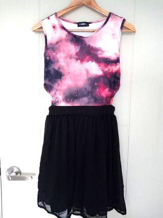 Club L Galaxy Print Dress with Side Cut