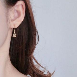 純銀幾何鋯石垂墜耳環
