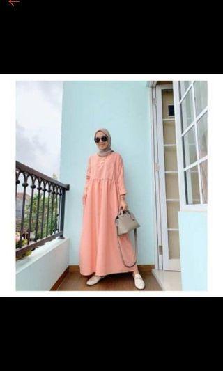 ISH babydoll dress coral, pakai 1x #bagibagi
