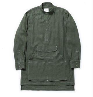 Syndro #WORKMAN APRON SHIRT #軍綠M號 工作長版口袋襯衫