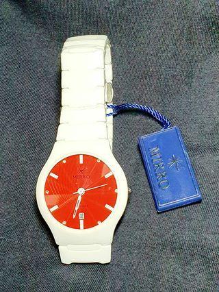 MIRRO 愛戀風潮時尚都會白色陶瓷腕錶(閃耀紅色錶面)