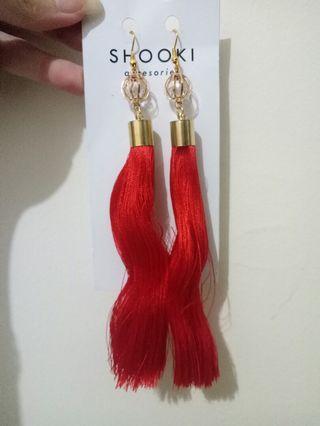 Anting panjang Tassel earing tassel merah