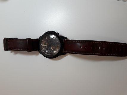 FOSSIL Grant 咖啡色皮革計時手錶