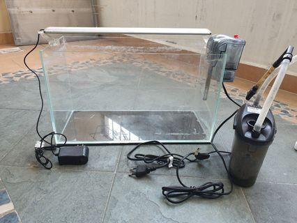 1.5ft tank with LED light, hang-on and canister filter