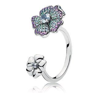 PANDORA GLORIOUS BLOOMS MULTI- COLORED SILVER RING #52