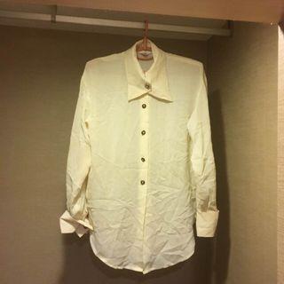 《妍 輕薄 透視 鈕扣 米色 長袖襯衫 高貴典雅》