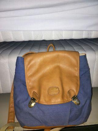 BLUE BAG, NUAGES FLOCONS, jeans bag, jean bag, brown bag, backpack brown, blue backpack,  jeans backpack, jean backpack