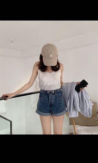 捲邊顯瘦牛仔短褲