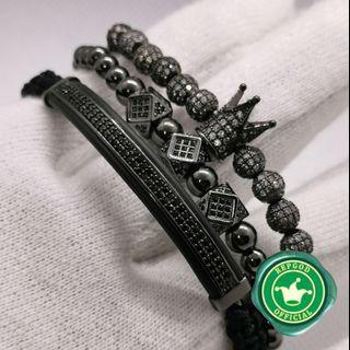 Black diamond crown charm bracelet 3 piece set