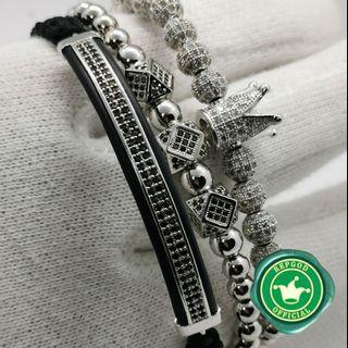 Silver diamond crown charm bracelet 3 piece set