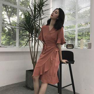 BNWT Ruffles Wrap Dress with Sleeve