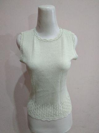 Soft Green Knit Top Atasa Tanktop Hijau Muda