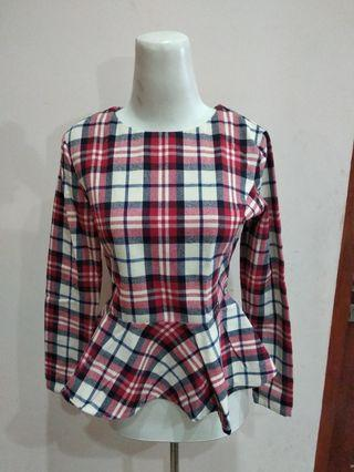Premium Red Tartan Peplum Top