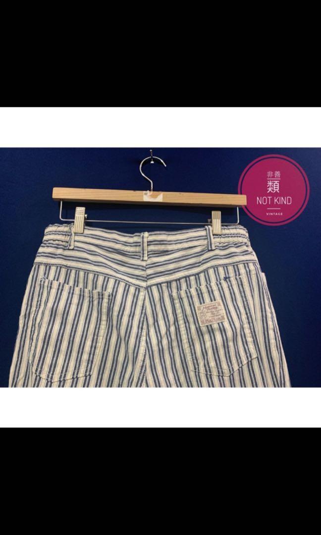 厚磅直條紋長褲