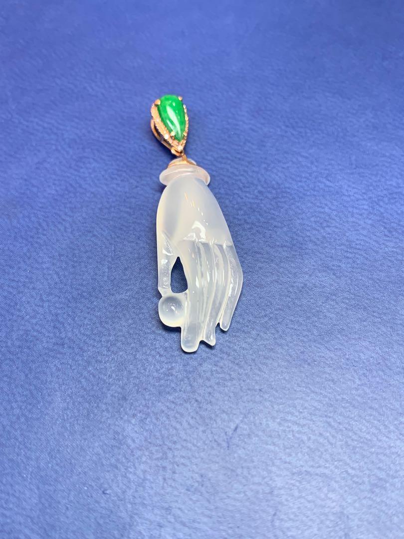 天然翡翠A玉:18k玫瑰金高冰翡翠吊墜,掌上明珠,得心應手👍37x11x5.2mm $2680