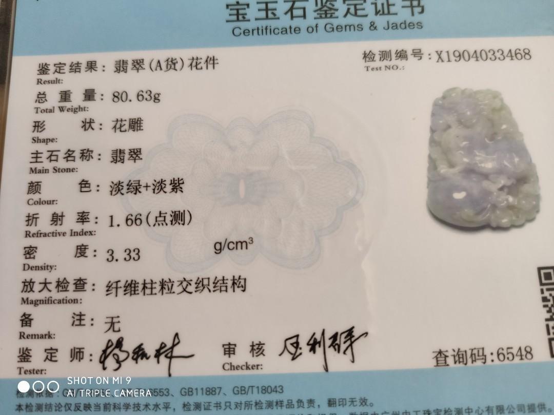 緬甸A貨翡翠, 春帶彩貔貅掛件,紫+綠,手雕,雙面,財源滾滾,帶陸證