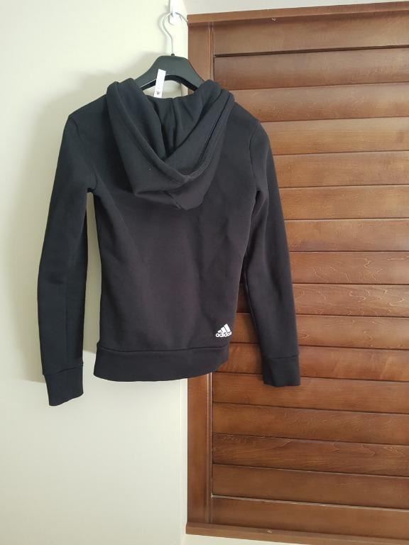ADIDAS Womens Essentials Full Zip Linear Hoodie Black