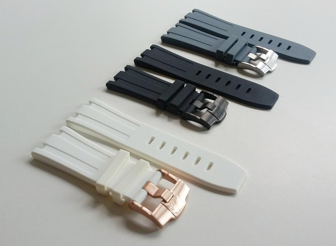 28mm POLAR WHITE RUBBER STRAP WITH STEEL BUCKLE FOR  AP