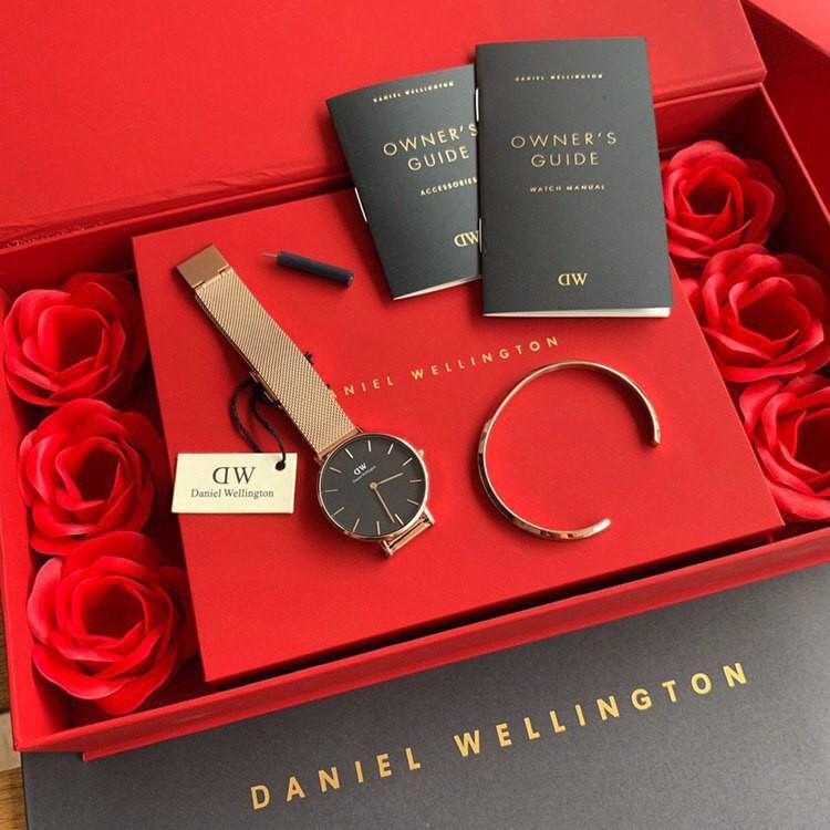 💯Auth Daniel Wellington Original Classic Petite Melrose White Rose Set with Cuff Rosegold