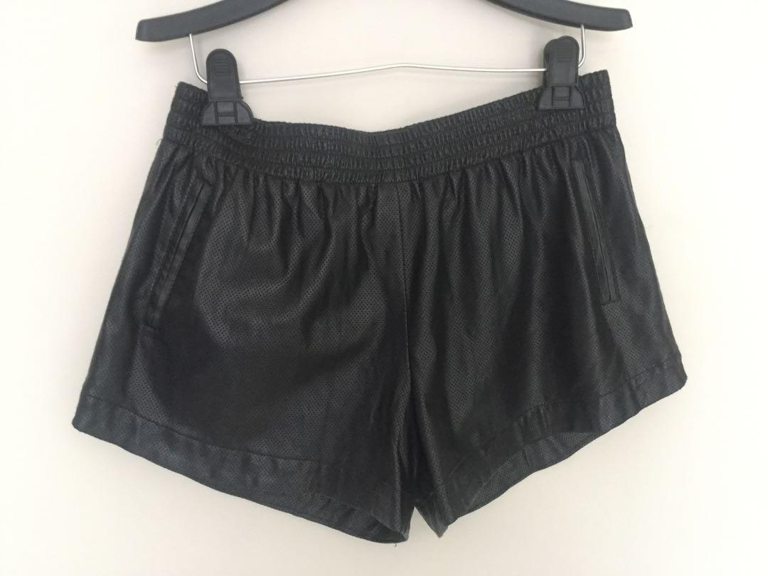 Bardot black leather look shorts size 12 very good condition