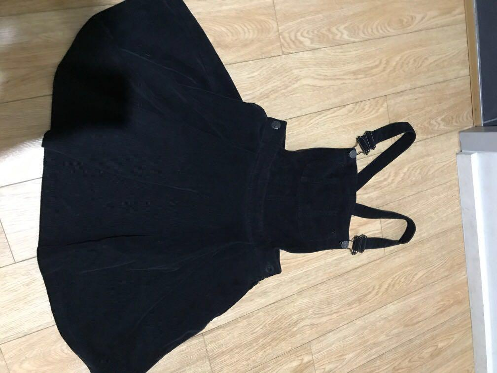 Black pinafore dungaree overall dress corduroy size 8