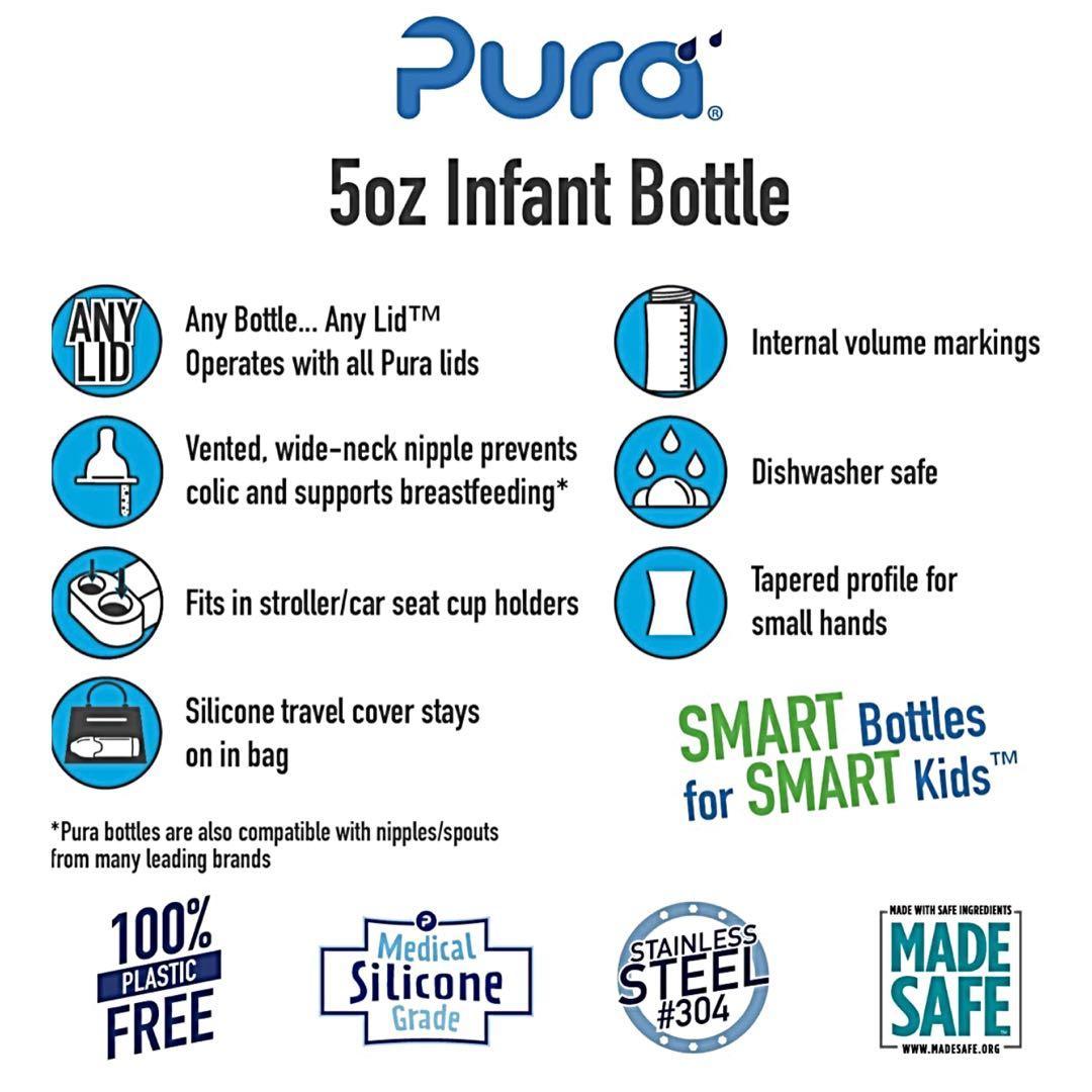 Brand new in packaging Pura 5oz stainless steel feeding bottle
