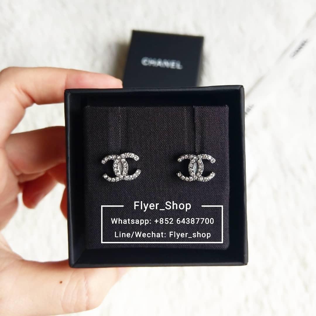 Chanel Mini 銀色/淡金 CC 耳環 Earrings