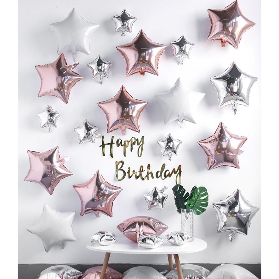 DIY all star happy birthday decoration pack - Rose Gold