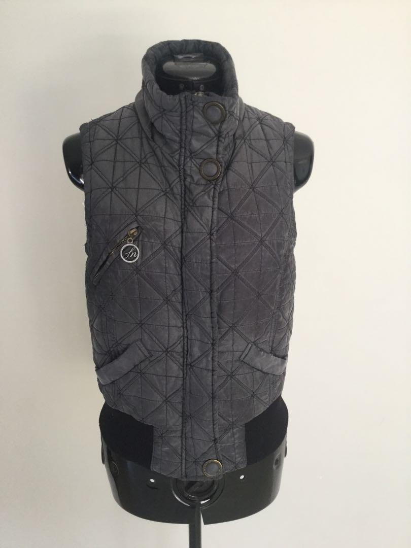 Forever new size 10 grey coloured vest zip snap button front