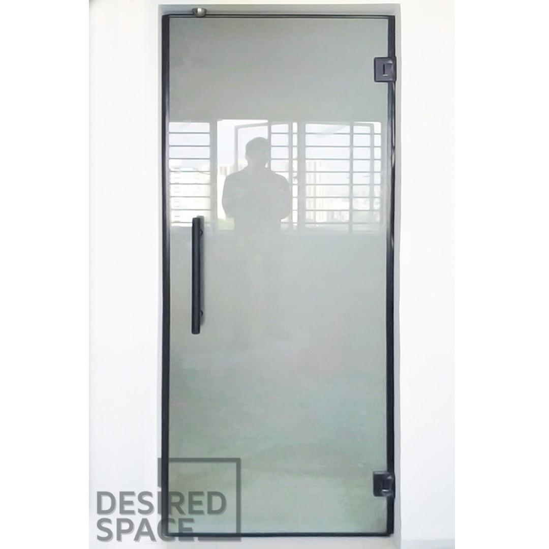 Frameless Tempered Frosted Glass Kitchen Swing Door