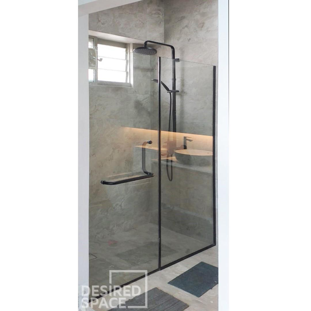 Frameless Tempered Swing Shower Screen (BLACK SERIES)